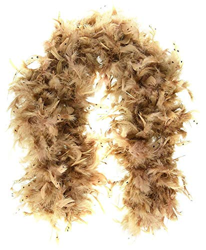shoperama Boa de plumas larga, diseño de búho, color marrón, 180 cm