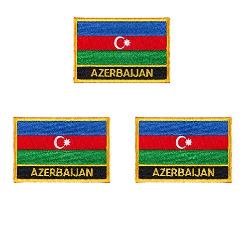 3 Stück Aserbaidschan-Flaggen-Aufnäher, bestickt, zum Aufbügeln oder Aufnähen.