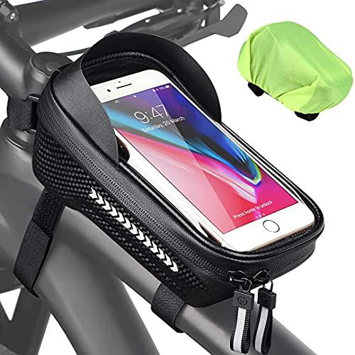 FSCLJ Bolsa de Cuadro de Bicicleta Bolsa de Bicicleta Impermeable Bolsa de Manillar Bolsillo de Tubo Superior Reflectante para teléfonos Inteligentes de Menos de 7 Pulgadas