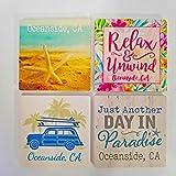 "Oceanside California – 4"" x 4"" Absorbent Ceramic Coasters Set of 4"