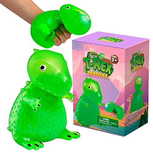 YoYa Toys Beadeez T Rex Squishy Dinosaur Stress Relief Balls | Jumbo Anxiety Relief Squeezing Dino Toys for Boys, Girls & Adults | Fidget Sensory Tyrannosaurus Rex Toy Filled with Water Beads