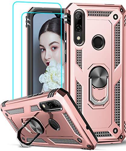 LeYi Funda Huawei P Smart 2019 / Honor 10 Lite con [2-Unidades] Cristal Vidrio Templado,Armor Carcasa con 360 Grados Anillo iman Soporte Silicona TPU Bumper Antigolpes Case para Movil P Smart,Oro Rosa