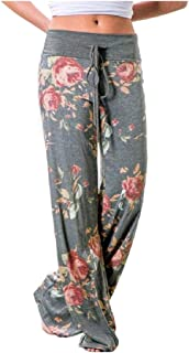DressU Women's Strappy Casual Floral Printed High Waisted Wide Leg Pants