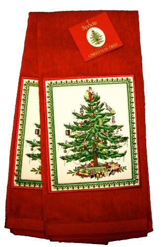 Spode Christmas Tree Kitchen Hand Towel, Red, 100% Cotton, Set of 2
