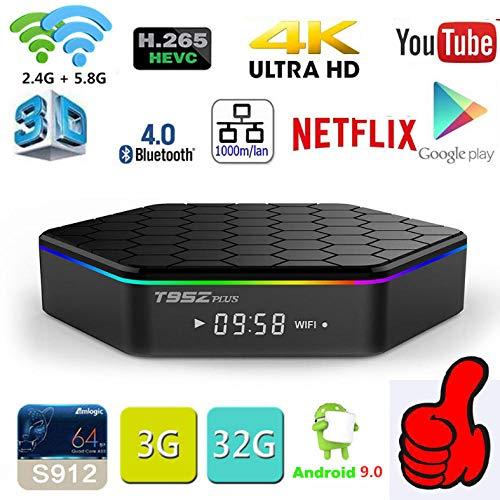 T95Z Plus Android 9.0 OS TV Box 3GB RAM 32GB ROM Amlogic S912 Octa Core CPU, 2,4 G/5,0 G WiFi BT4.0 Gigabit LAN Videoplayer Bluetooth 4.1 HDMI 2.1 H.265 4K Auflösung