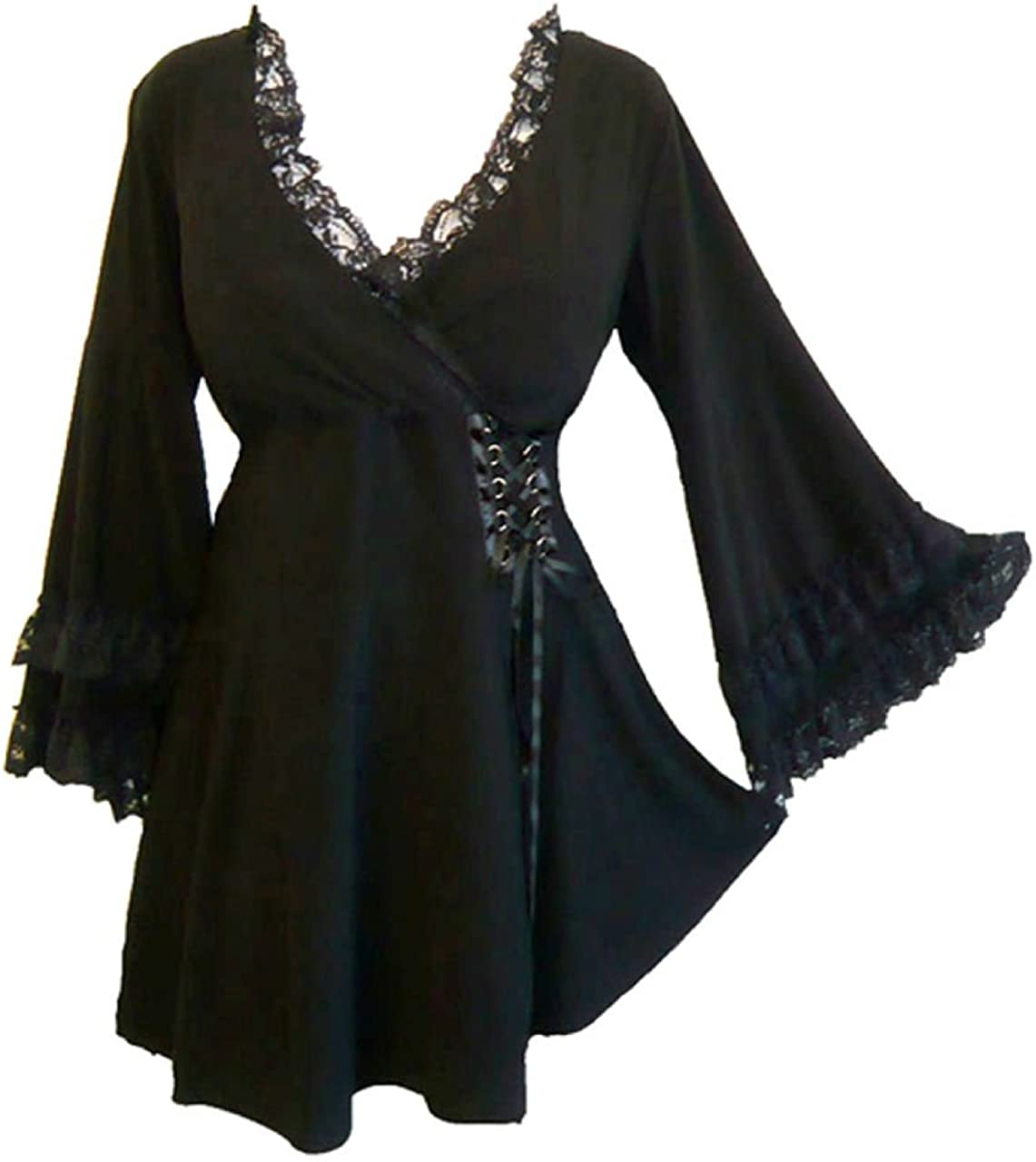 Dare to Wear Victoria Corset Top: Gothic Victorian Steampunk Women's Lace Tunic for Everyday Halloween Cosplay Festivals