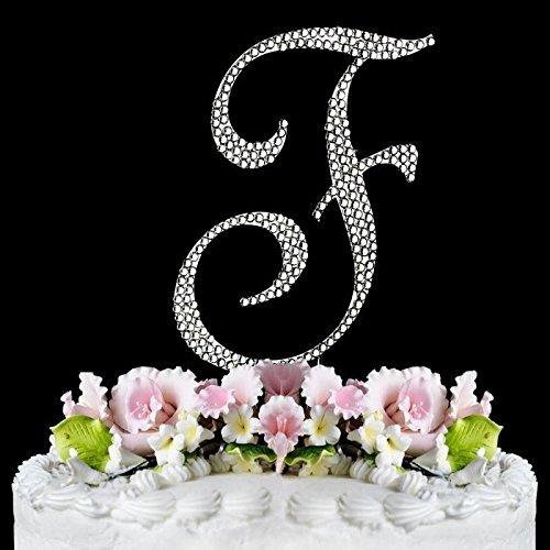 Completely Covered Swarovski Crystal Silver Wedding Cake Toppers ~ LARGE Monogram Letter F