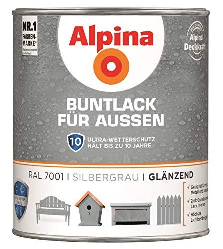 Alpina Buntlack Metalllack 0,75L silbergrau Ral 7001 glänzend Außen