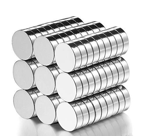 MEIXI Neodym Magnete, 60 Stück Rund Magnets 10x3mm Mini Magneten für Magnettafel, Whiteboard, Magnetboard, Pinnwand, inkl. Aufbewahrungs Box (60pcs)