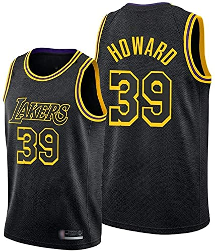 XUECHEN Ropa Camiseta sin Mangas para Hombres, NBA Los Angeles Lakers # 39 Dwight Howard Ropa de Baloncesto, Cómodo Luz Transpirable Uniformes Chaleco, Negro, XL (180~185cm)