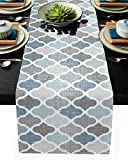 Moroccan Table Runner-Cotton linen-Small 36 inche Geometric Quatrefoil Lattice Dresser Scarves,Kitchen Coffee/Dining Farmhouse Tablerunner for Home Living Room,Holiday Dinner Scarf Décor,Blue Grey