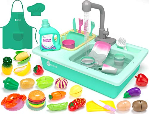 KIDPAR 38 Pcs Color Changing Kitchen Play Sink Toys for KidsToddler Electric Dishwasher with Auto Running Water Cycle SystemCutting FoodChef ApronHouse Pretend Role Play Toys for Boys Girls