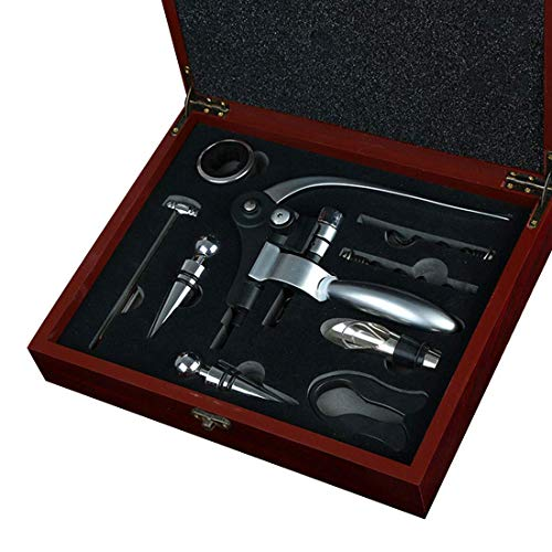 CKQ-KQ Vino del abrelatas, 9 pieza botella de acero inoxidable Sacacorchos eléctrico del tapón del vino rojo aireador de vino de Wine Lover-caja de regalo Sacacorchos