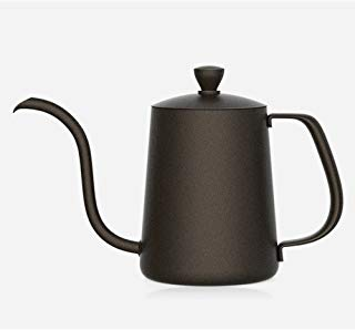 TAMUME 350ML Black Teflon Coating 5mm Gooseneck Spout Drip Pot with Lid for Coffee Service Stainless Steel Drip Tea Kettle for Drip Coffee (350ml)