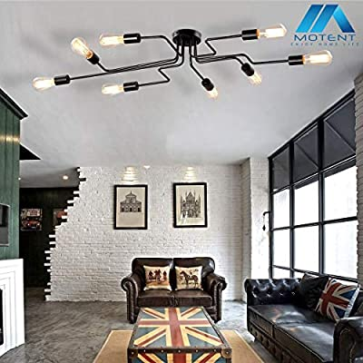 Modern Chandelier, Motent Vintage Semi Flush Mount Black Metal Ceiling Light, Iron Wrought Spider Shaped Lampshade, Minimalist Pendant Lighting Fixture with 4 E26 Sockets for Resturant Balcony Parlor