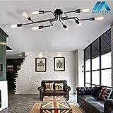 Vintage 8-flammige Deckleuchte, MOTENT minimalistisch Modern Industrielampe 27,17' Breite Deckenlampe aus Eisen Art Kronleuchter Deckenleuchte mit E27 Lampenfassung für Wohnzimmer Küchen Keller