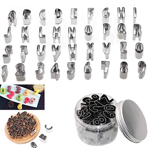 ZYDTRIP 36 Pack Ausstechformen für Keks Fondant, Nummer Alphabet Backen Cutter Mold Kuchen Dekoration Modell Werkzeuge