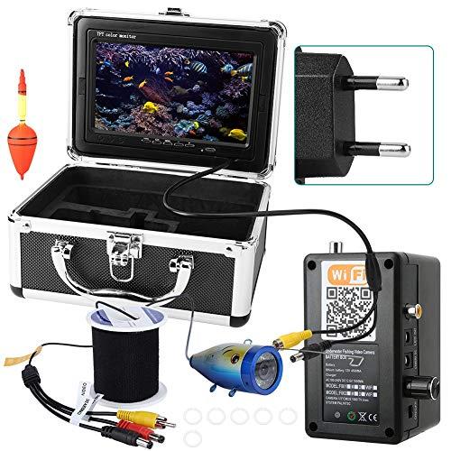 BTIHCEUOT Unterwasserkamera-Kit mit 50 m drahtlosem WiFi-Kabel CCD 1000TVL 7 Zoll HD-Farbvideomonitor Fischfinder(EU-Stecker)