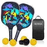 ULAOUL Pickleball Paddles Set of 2 Lightweight Pickleball Rackets Carbon Fiber Surface Polypropylene Honeycomb Core, 4 Pickleball Balls 2 Additional Cushion Grip Strips & 1 Portable Racquet Bag.