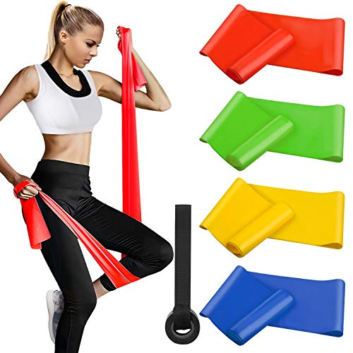 Fitnessbänder 4er-Set 200 x 15 cm, Widerstandsbände Gymnastikband Trainingsband Theraband Set (Leicht,MIttel,Schwer,X-Schwer) für Pilates Yoga Krafttraining