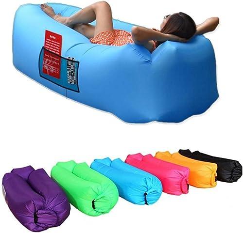 Rziioo Hamac Gonflable de Sofa d'air de fainéant, canapé idéal pour la Plage voyageant campant des Pique-niques et des Festivals de Musique,bleu