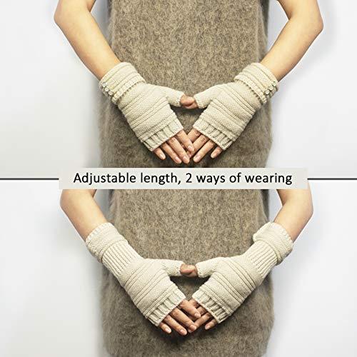 Dahlia Women's Knit Fingerless Gloves, Hand & Wrist Warmer, Adjustable, Black