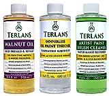 TERLANS Hilfsmittel für die Ölmalerei 3 x 250 ml/Terpentinersatz, komplett...