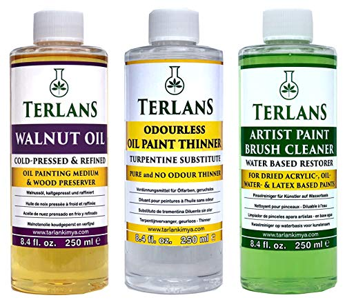 TERLANS Hilfsmittel für die Ölmalerei 3 x 250 ml/Terpentinersatz, komplett geruchlos/Walnussöl/Ölpinselreiniger