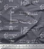 Soimoi Grau Baumwoll-Voile Stoff Check & Flugzeug Transport