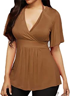 OTW Women's Plus Size Deep V Neck Summer Halter Solid Color T-Shirt Tunic Shirt Blouse Top