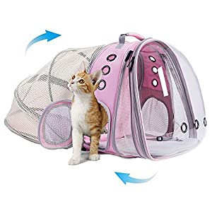 halinfer Expandable Front and Back Cat Backpack Carrier, Dual Expandable Space Capsule Transparent Clear Bubble Pet Carrier for Small Dog, Pet Carrying Hiking Traveling Backpack (Pink)