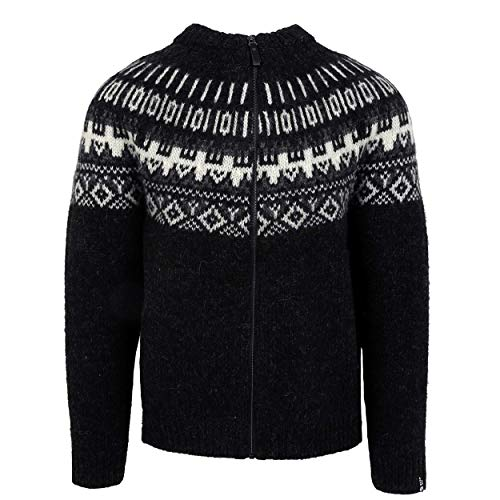 ICEWEAR Elis Men's Sweater Lopapeysa Design 100% Icelandic Wool Long Sleeve Winters Full Zip Sweater | Black - Large