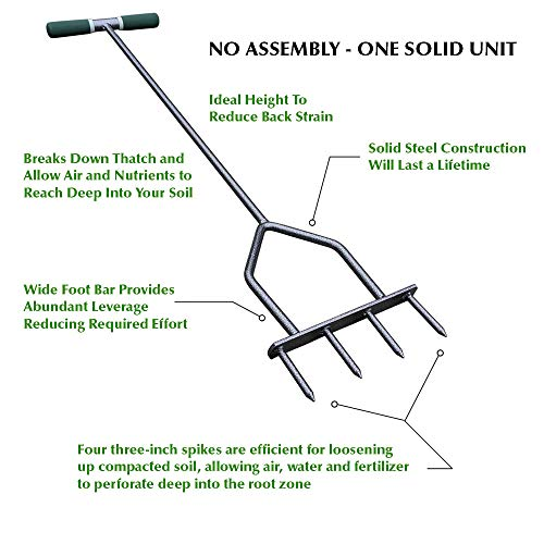Multi Spike Lawn Aerator, Manual Aerator for Compacted Soils and Lawns, 37 in (94 cm) Tall, Multi-Spike Aerator, Spike Aerator