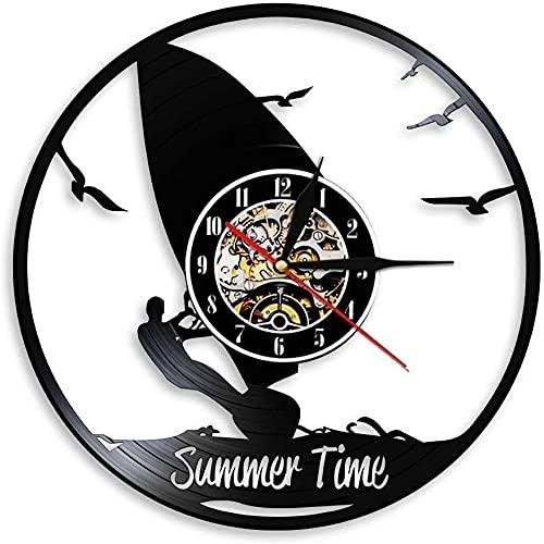 Reloj de Pared de Vinilo Reloj de Verano Windsurf Colgante de Pared decoración Gimnasio Reloj de Pared Windsurf Reloj de límite de Disco de Vinilo Deportes acuáticos Regalo de los Amantes