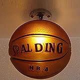 Ganeep Lámpara de techo de diseño creativo de baloncesto Simplicidad moderna Cubierta de lámpara de vidrio redonda Lámpara de techo for niño Niña Habitación de niños Luces de techo de dormitorio 25cm