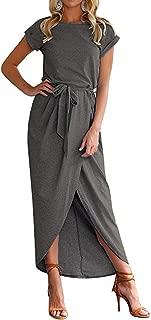 Women Short/3/4 Sleeve Belted Dress Elastic Waist Slit Long Maxi Dress