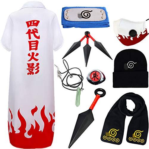 AOGD Anime Naruto Shippuden Namikaze Minato Cosplay Halloween Navidad Cumpleaños Carnaval Fiesta Mascarada Disfraz Naruto Capa Azul Headband Kunai Bufanda Sombrero Niño Adulto Unisexo Hokage Ninja Set