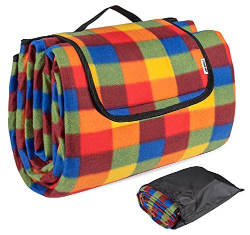Picknickdecke, 200 x 195 cm Stranddecke - XXL Faltbar Picnic Mat, Fleece Wärmeisoliert Wasserfeste Unterseite mit Aufbewahrungsbeutel (Rucksack) für Outdoor, Camping - Bunte Karomuster