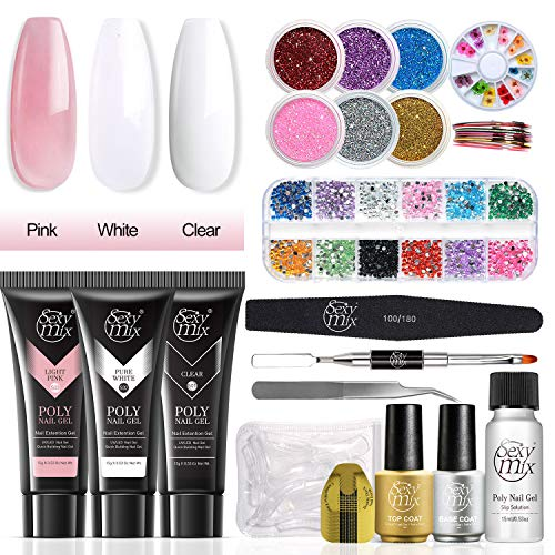 SEXY MIX Poly Nail Gel Kit,Nail Extension Builder UV Gel Nail Starter Kit with 6 Glitter Powder,Dried Flowers,Nail Diamond,Striping Tape Lines,Slip Solution Nail Art Tools All-in-one Kit