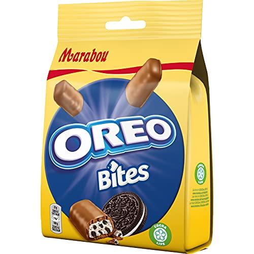 Marabou Oreo Bites 8 x 140 g – kleiner Snack mit Oreo Füllung, umhüllt von cremig–zarter Schokolade – leckere Süßigkeiten, ideal für unterwegs