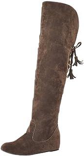 COOLCEPT Mujer Moda Tacón de Cuña Botas Altas