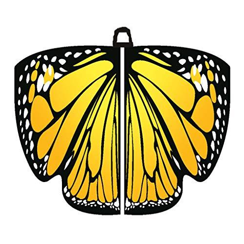 SHE.White Damen Schmetterlingsflügel,Kostüm Dancing Costume Performance Butterfly Wing farbenfrohe Flügel für Party Fasching Karneval Frauen Kostümzubehör