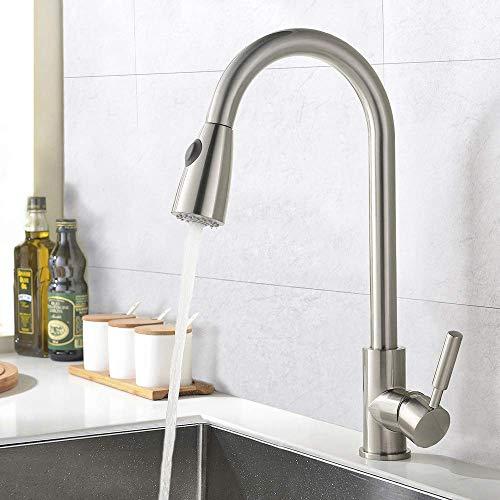 Delicaho - Grifo de cocina de una palanca, orientable 360°, de níquel cepillado, para cocina o fregadero, con extraible