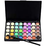 Rape Flower Cosmetic Matte Eyeshadow Cream Makeup Palette Shimmer Set 40 Color+ Brush Set (B)