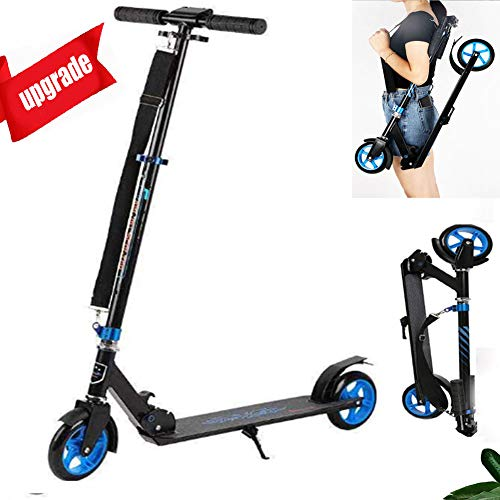 Buy HFSKJWI Foldable Adult Scooter, Aluminum Alloy 4-Speed Height-Adjustable Scooter for Young Adult...