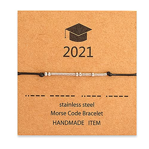 Llavero de graduación para regalos Clase de 2021, gorra de graduación, pergamino, dije, llavero de acero inoxidable, regalos inspiradores para hombres, mujeres, fiesta de graduación (Bracelet)