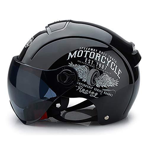 Vintage Casco Moto Abierto,Retro Cascos Half-Helmet con Visera,ECE Homologado,para Adultos Mujer y Hombre Street Bike Cruiser Chopper Moped Scooter Moto Jet Cascos A