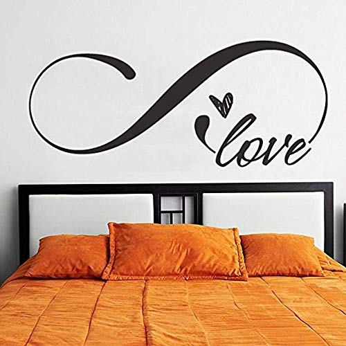 Amor infinito símbolo dormitorio vinilo pared pegatina tamaño King cabecera decoración calcomanía romántica diciendo 58X25cm