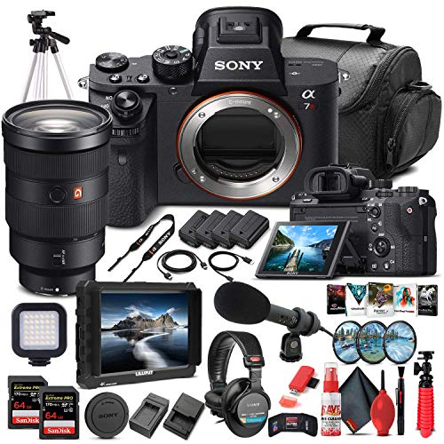 Sony Alpha a7R II Mirrorless Digital Camera (Body Only) (ILCE7RM2/B) + Sony FE 24-70mm Lens + 4K Monitor + Headphones + Pro Mic + 2 x 64GB Memory Card + Corel Photo Software + Tripod + More (Renewed)