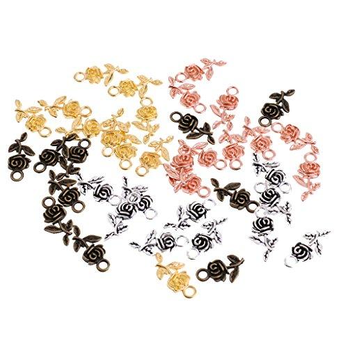 Baoblaze 40 STK Anhänger Rose Blume Form Charms Anhänger für Armband Kette Ohrring Schmuckherstellung